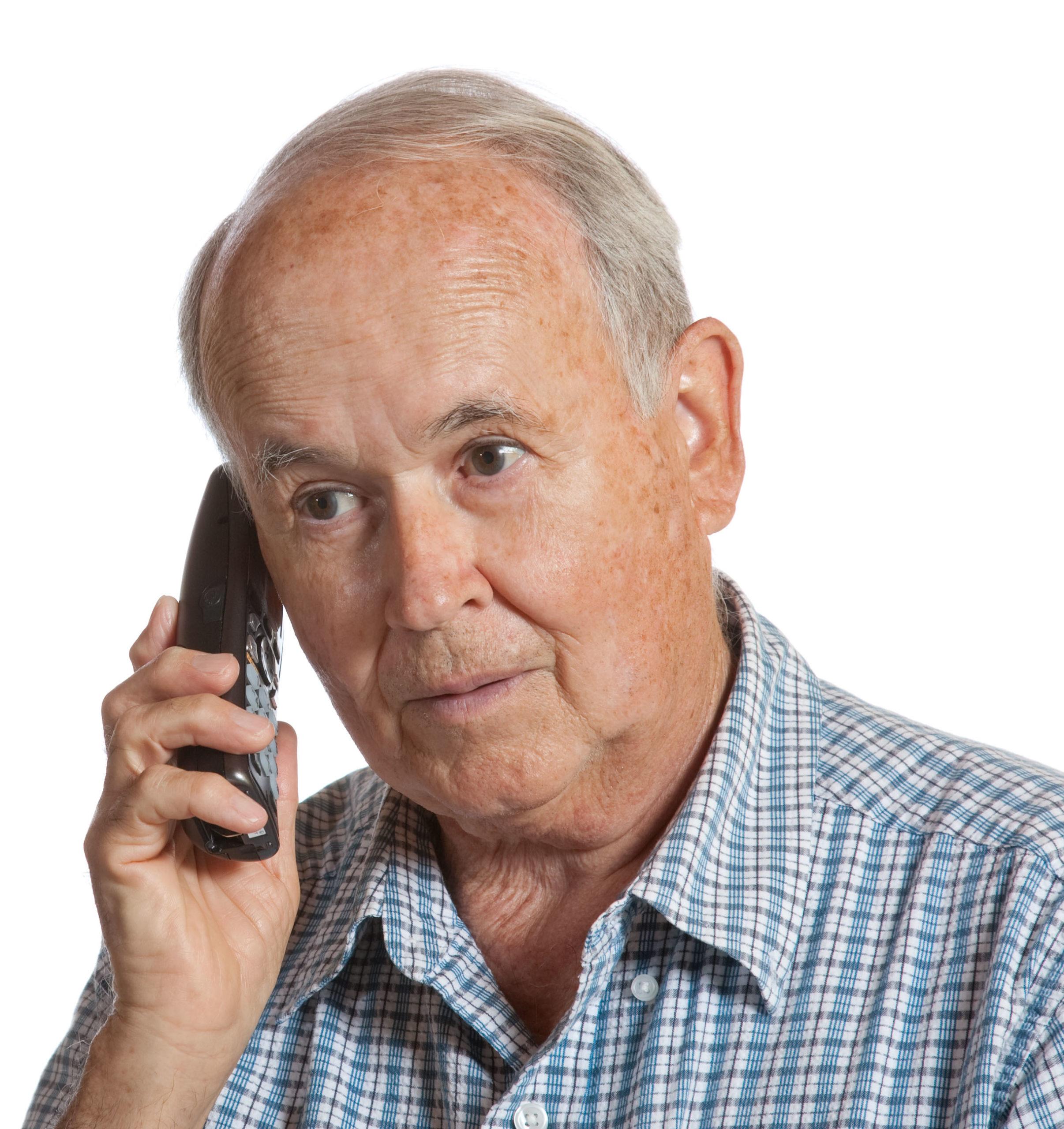 Elderly male calling the Helpline 01392 876 666