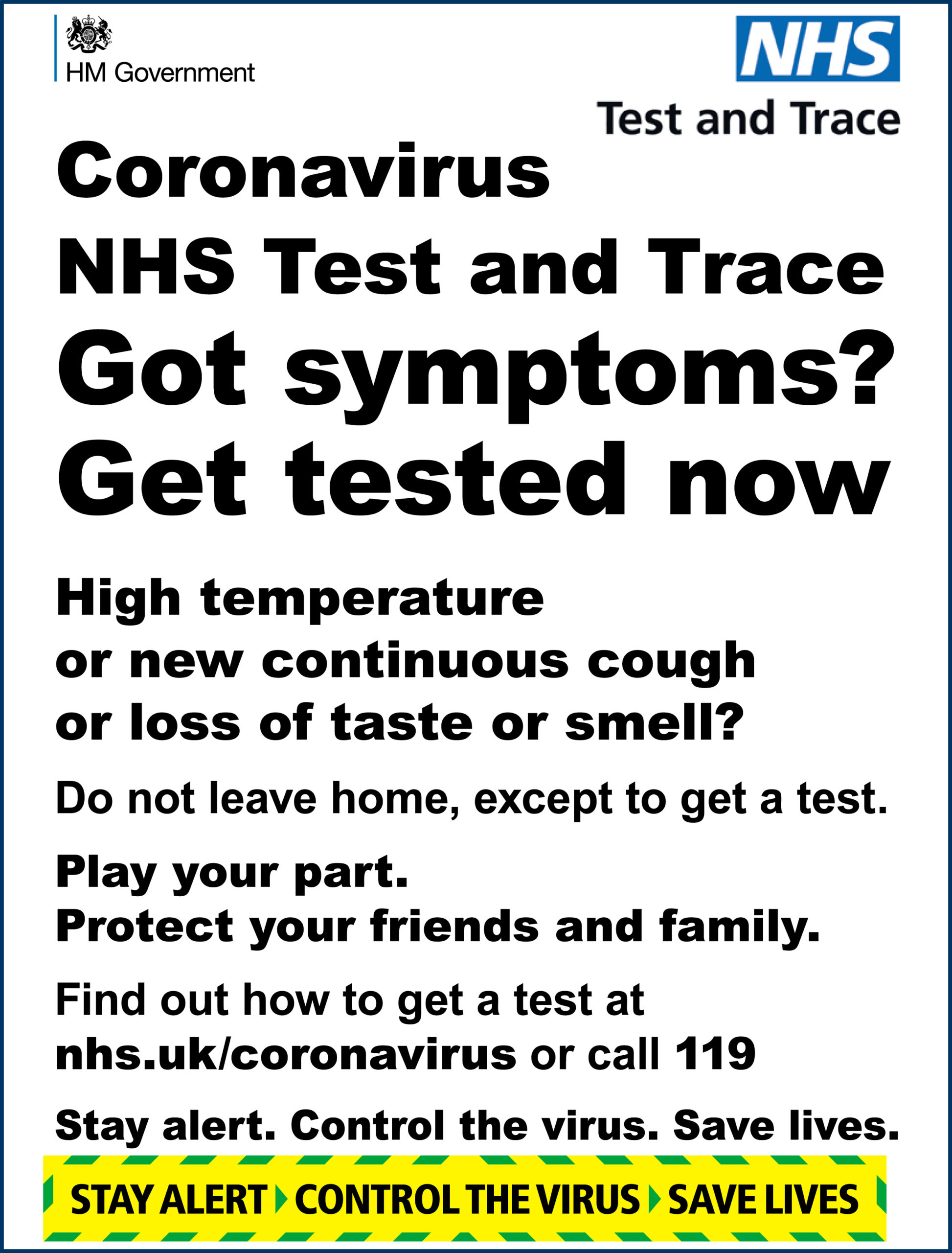 Coronavirus – NHS Test & Trace – Got symptoms